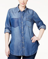 Melissa McCarthy Trendy Plus Size Chambray Shirt