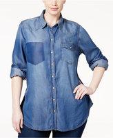 Melissa McCarthy Seven7 Trendy Plus Size Chambray Shirt