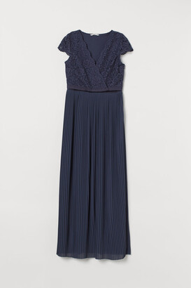 H&M MAMA Pleated Nursing Dress - Blue