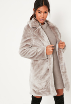 Missguided Grey Oversized Collar Faux Fur Coat