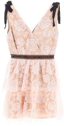Self-Portrait SEQUINED LACE MINI DRESS 10 Pink, Black