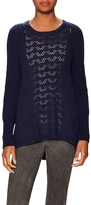 White + Warren Open Knit Crewneck Sweater