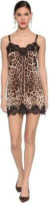 Dolce & Gabbana Leopard Stretch Satin Mini Slip Dress