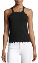 Milly Scalloped High-Neck Tank Top