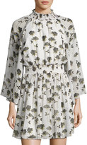 Rachel Roy Smocked-Trim Floral-Print Dress, Neutral Pattern