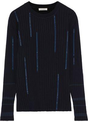 Nina Ricci Sequin-embellished Ribbed Wool-blend Sweater