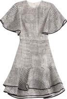 Jason Wu Woodgrain Raffia Organza Short Sleeve Bias Ruffle Dress