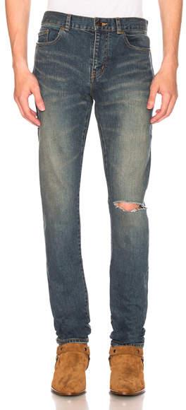 Saint Laurent Low Rise Destroyed Skinny Jeans