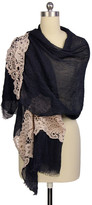 Saachi Navy Floral Lace Scarf
