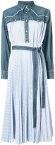 Sacai Denim Pleated Shirt Dress