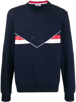 Fila striped logo embroidered sweatshirt