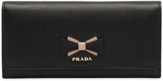 Prada large Saffiano leather wallet with bow