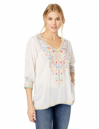Johnny Was Women's V-Neck Blouse with Multicolor Embroidery