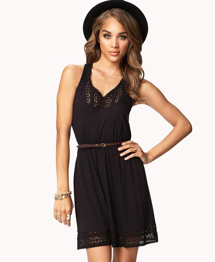 Forever 21 Crocheted Dress w/ Belt