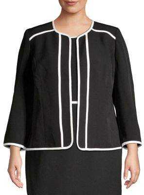 Kasper Plus Contrast-Trim Open-Front Jacket