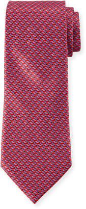 Ermenegildo Zegna Men's Diagonal Geometric Silk Tie, Red