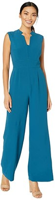 Tahari ASL Stretch Crepe Notch Neck Jumpsuit (Ocean) Women's Jumpsuit & Rompers One Piece