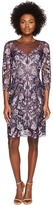 Marchesa All Over Embroidered Cocktail Dress w/ 3/4 Sleeves Women's Dress