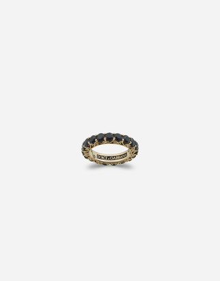 Dolce & Gabbana Sicily Ring In Yellow Gold And Black Sapphires