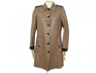 Burberry Camel Leather Coat for Women