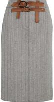 Tom Ford Herringbone Wool And Cashmere-blend Tweed Skirt - Gray