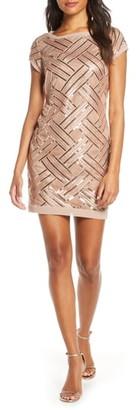 Eliza J Lattice Pattern Sequin Sheath Dress