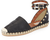 Valentino Rockstud Double Ankle-Wrap Flat Espadrille, Black
