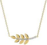 Finn Large Leaf Pendant with Diamond Stem Necklace