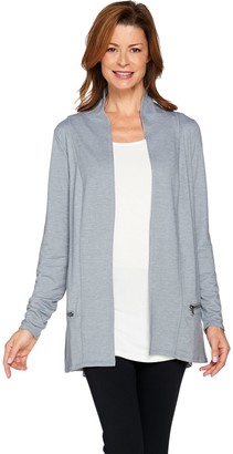 Logo by Lori Goldstein LOGO Lounge by Lori Goldstein French Terry Cardigan with Zipper Detail