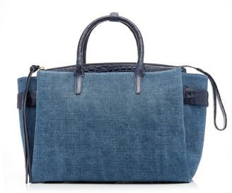 Nancy Gonzalez Cristie Large Crocodile-Trimmed Linen Bag