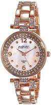 August Steiner Women's Glamour Diamond Watch with Rose Gold-Tone Dial and Bracelet AS8137RG