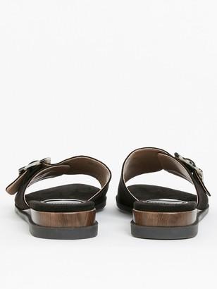 Evans Extra Wide Fit Wooden Buckle Sliders - Black