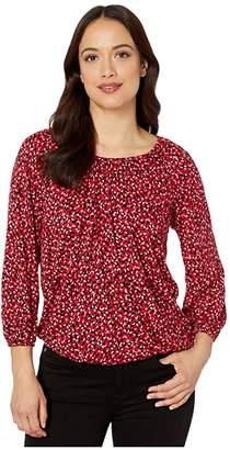 MICHAEL Michael Kors Petal Peasant Top (Black Multi) Women's Clothing