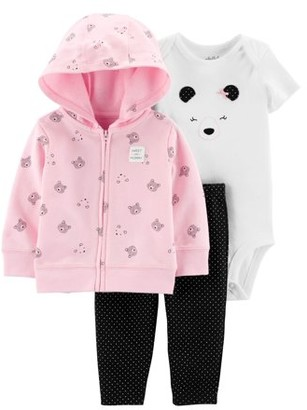 Carter's Child Of Mine By Child of Mine by Hooded Cardigan, Short Sleeve Bodysuit & Pants, 3pc Outfit Set (Baby Girls)