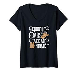 Womens Country Roads Take Me Home Girls Southern Gals V-Neck T-Shirt