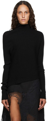 Marques Almeida Black Rib Knit Asymmetric Turtleneck