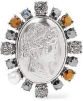 Oscar de la Renta Convertible Silver-Tone Crystal And Faux Pearl Brooch