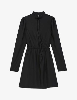 The Kooples High-neck woven mini dress