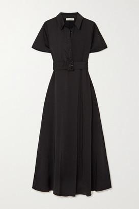 MUNTHE Belted Washed-satin Midi Shirt Dress - Black