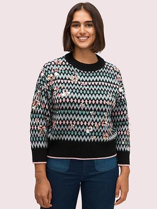 Kate Spade Embellished Fair Isle Sweater