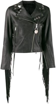 Diesel painted fringed biker jacket