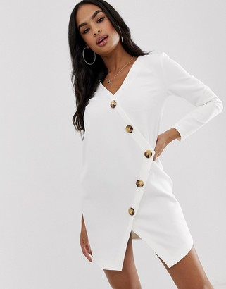 Asos Design DESIGN asymmetric shift mini dress with tortoiseshell buttons-White
