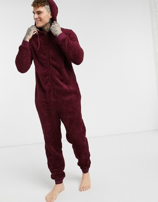 ASOS DESIGN lounge onesie in burgundy fleece