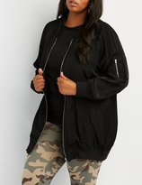 Charlotte Russe Plus Size Satin Longline Bomber Jacket