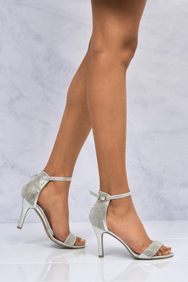 Miss Diva Chantel Open Toe Ankle Strap Sandal in Silver