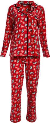 Pillow Talk Women's Sleep Bottoms WINTER - Red Cat Heart of Palm Pajama Set - Women