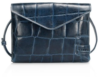 STAUD Holly Croc-Embossed Leather Wallet-On-Strap