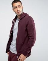 New Look Zip Through Hoodie In Burgundy