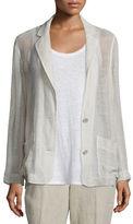 Eileen Fisher Mesh Two-Button Blazer, Natural, Petite