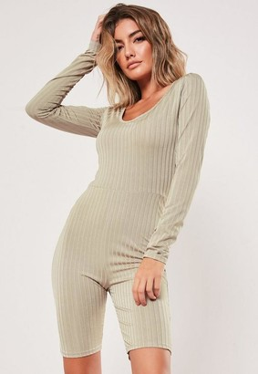 Missguided Ribbed Scoop Neck Unitard Playsuit